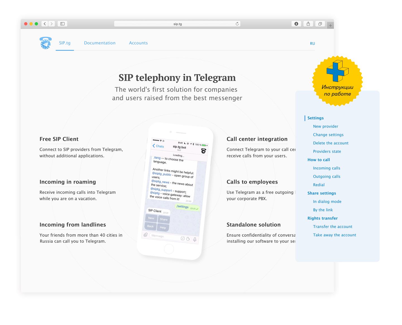 Сайт идокументация SIPtg картинка